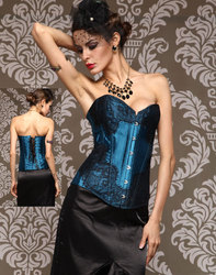 Lace Overlay Burlesque Corset Teal