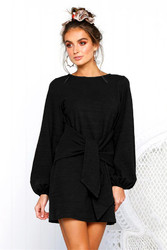 Women Loose Style O neck Mini Dress With Puff Sleeve And Lace Up Detail At Front Black