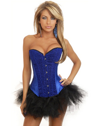Blue Sequin Burlesque Corset