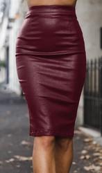 High waist PU Pencil skirt