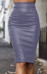 High Waist PU Pencil Skirt
