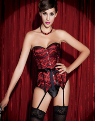 Red Corset with Black Lace Overlay