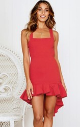 Red Sexy Backless Irregular Hem Cocktail Dress