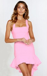 Pink Sexy Backless Irregular Hem Cocktail Dress