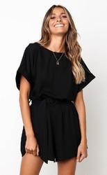 Black  Half Sleeves Peplum Waist Jumpsuit