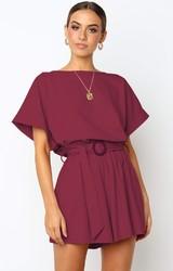 Red Half Sleeves Peplum Waist Jumpsuit