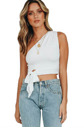 Sexy One Shoulder Sleeveless White Tank Bowknot Woman Crop Top