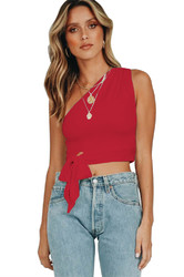 Sexy One Shoulder Sleeveless Red Tank Bowknot Woman Crop Top