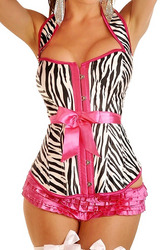 Zebra Halter Top Belted Corset
