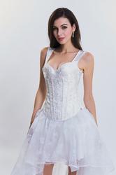 White 15 Plastic Bone Gothic Jacquard Corset