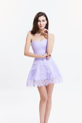 Lavender Sexy Strapless Lace Tight Corsetdress