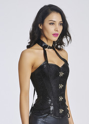Wholesale Halterneck Bone Embroidery Corset Black