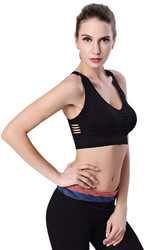 Plus size side hollow out sexy Sport Bra Black
