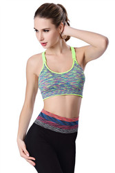 Sexy Sport Bra With Adjustment Strap Fluorescent Green & Gery