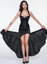 Fahion Elegant Ladies Black halter Bowknot Corset