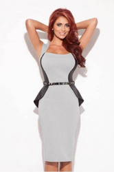 New Womens Splice Slimming Stretch Business Party Pencil Cocktail Midi Dress Silver