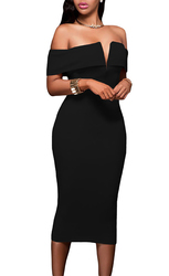 Women's Off -the -Shoulder Evening Bodycon V-Neck Party Cocktail Club Dress