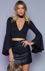 Women V Neck Long Bell Sleeve Solid Top Black