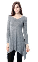 Women's Basic Long Sleeve Casual Loose T-Shirt Dress Grey