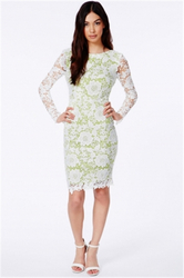 Lace winter women sexy midi club dress green