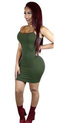 Women's Cami Short Mini Bodycon Slip Bodycon Dress Army Green