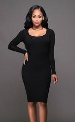 Women's Deep-V Package Hip Bodycon Night Cocktail Midi Dress Black