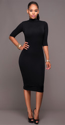 Women Long Sleeve Hollow Out Bodycon Dress Black