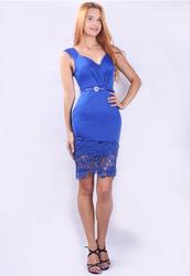 New Arrival Seductive V-neck Floral Mesh Hem Patchwork Midi Dress Blue