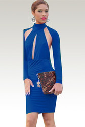 Open Back Hollow Out Long Sleeve Bodycon Dress Blue
