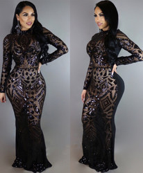 Charming Women O-Neck With Sequins Patchwork Long Sleeves Bodycon Long Evening Dress
