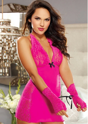 Rosy Lace Babydoll With Glove