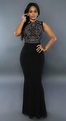 Fashion Hot Sleeveless Applliques Maxi Dress