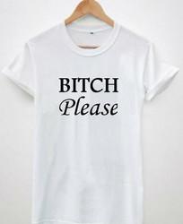 Women's Casual Letter Print T-shirt BITCH PLEASE