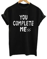 Women's Casual Letter Print T-shirt TOU COMPLETE ME