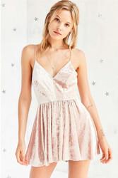 Women's Straps Sleeveless Bodycon Mini Velvet Dress Beige