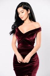 Fashion Chic Velvet Sexy Sleeveless V Neck Bodycon Dress