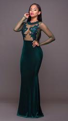 2017 Mesh Lace Applique Velvet Evening Maxi Gown Dress Green