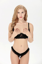 Half a cup of milk open files temptation Lace lingerie suit