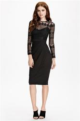 Black Lace Splice Pleated Women Midi Dress