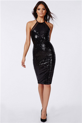 Bling Bling Sexy Black Backless Lady Dress