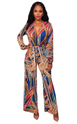Deep V Neck Strappy Print Long Sleeve Wide Jumpsuit