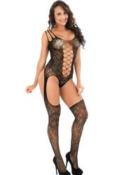 Black Bouquet Lace Suspender Shoulder Open Crotch Bodystocking