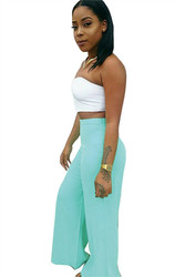 Solid Color Fashion Women Pants Green