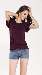Fashion Women's O-Neck Short-Sleeve Shirt Purple