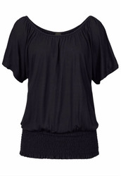 Fashion Women's O-Neck Short-Sleeve Shirt Black