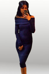 Elegant Women Slash Neck Long Sleeve Bodycon Dress Blue