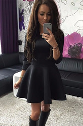 New Arrival Elegant  Skater Dress Black For Women
