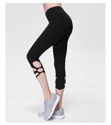 Black High-Waist Cropped Yoga Pants Shredded Sportss Women Pants