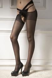 Sexy Women Open Crotch Stockings Black