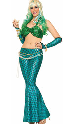 High-End Hallowmas Mermaid Costimes Sexy Lingerie Green